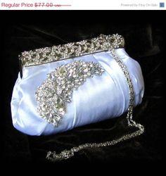 OOAK Crystal, bridal clutch, Victorian evening bag, White clutch, wedding clutch, Vintage inspired clutch, Bridal evening bag