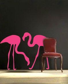 2 Flamingo vinyl wall DECALs interior design sticker by EyvalDecal, $43.00