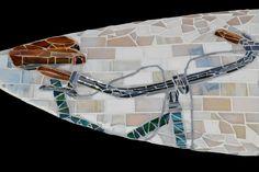Surfboard mosaic close-up. ©KACIE mosaics & art.     www.kacieonline.com