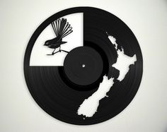 NZ Map & Fantail Vinyl Record Art Wall Hanging Old Vinyl Records - New Unique Art - NZ Made