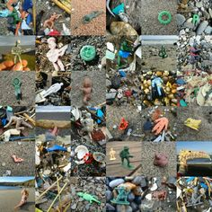 Collection of tideline objects found on UK coasts