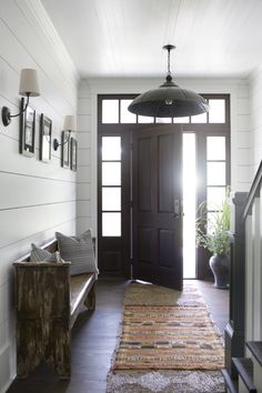 1000 images about entryways and foyers on pinterest for Modern farmhouse mudroom