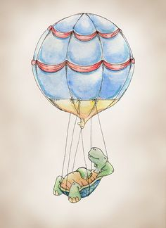 Hot Air Balloon Turtle 8x10 Print of an Original Watercolor - in a series of 9 by Tara Neal of 'FlightsByNumber' on Etsy♥•♥•♥