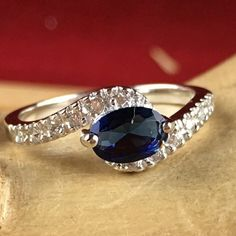 1.25 ct Genuine Blue and White Sapphire Solitiare Sterling Silver Swirled Shank Engagement Ring SD SD9RC104326. Starting at $1