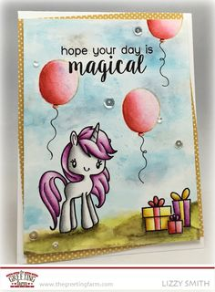 unicorn from Magical Day, balloons from Hello Unicorn, presents from I Love Mom and I Love Dad stamp sets