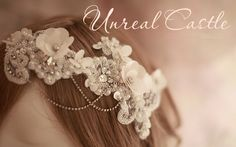 Vintage Inspire headpiece with Pearls, Rhinestone & Lace. $36.00, via Etsy.