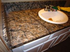 DIY Faux Granite Countertop ….without a kit for under $60! | Oooh, I Could Totally Do That!