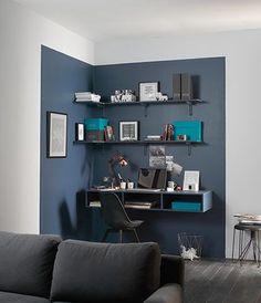 créer un coin bureau avec un color block de peinture