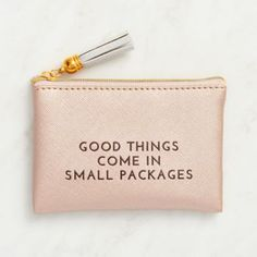 Sometimes good things do come in small packages, especially with this sweet little pouch! Doubles as a great way to present a gift card or keep your cash organized! Featuring a fun tassel charm.<br><b