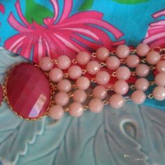 ALONA 18 k gold plated bracelet with peach jade and resin  gorgeous at the Shopping Mall, $75.00 (USD)