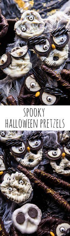 How to make Spooky Halloween Pretzels Halloween Pretzels, Halloween Goodies, Halloween Desserts, Halloween Food For Party, Halloween Cakes, Halloween Kostüm, Holidays Halloween, Halloween Treats, Holiday Treats