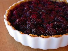 Fresh Blackberry Tart - What's summer without pie? Nothing, that's what. - blackberries, one of nature's lowest carb fruits. Clocking in 6 net carbs a serving (including crust), each slice also packs 8 grams of protein and three grams of healthy Omega-6 fatty acids. And this is a dessert?