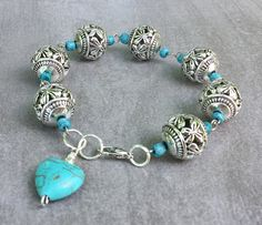 Turquoise heart charm bracelet-boho pewter silver beads Dainty Simple Everyday Style Jewelry - Jewelry - Ideas of Jewelry - Turquoise heart charm bracelet-boho pewter silver beads Dainty Simple Everyday Style Jewelry Bead Jewellery, Wire Jewelry, Gemstone Jewelry, Beaded Jewelry, Jewelery, Jewelry Bracelets, Silver Bracelets, Heart Jewelry, Bracelet Fil