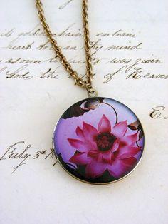 Locket Necklace Pink Lotus Flower - Yoga Blossom -  Retro Vintage Brass. $32.00, via Etsy.