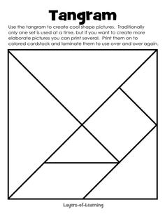 Printable tangram as part of a shape study in art - Layers of Learning