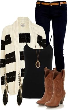 Fabulous outfit for fall/winter senior pics! Black jeans | blank tank | black and ivory striped cardigan | cowboy boots