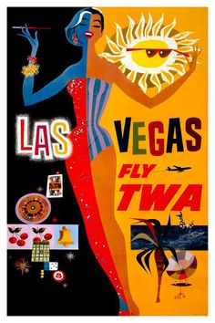 Vintage Travel//Holiday Poster A1A2A3A4 Sizes Fly To FLORIDA.. With T.W.A
