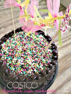 Give a store bought cake a makeover! An easy alternative that will save you time and money. Find out about this cake from The Avenue! Costco Chocolate Cake, Costco Cake, Birthday Chocolates, Celebrate Good Times, Just Desserts, Dessert Recipes, Let Them Eat Cake, Beautiful Cakes, Cupcake Cakes