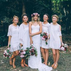 Radiant jennifer gifford real bride Lucy and her beautiful bridesmaids. What a tribe!
