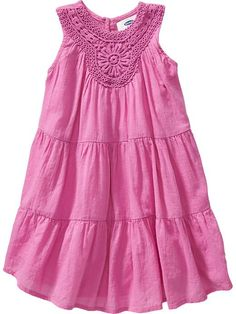Crochet-Neckline Gauze Dresses for Baby