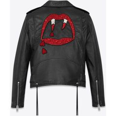 Saint Laurent Blood Luster Motorcycle Jacket ($7,015) ❤ liked on Polyvore featuring outerwear, jackets, tops, yves saint laurent, leather biker jacket, real leather jackets, motorcycle jacket, belted jacket and snap jacket