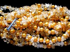 Rock Crystal Bead Genuine Pearl Multi 4 Strand Sterling Silver Vintage Necklace   eBay