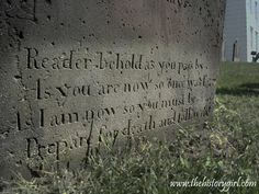 Tombstone at Old Tennent Cemetery. Read more about historic cemeteries at: http://www.thehistorygirl.com/