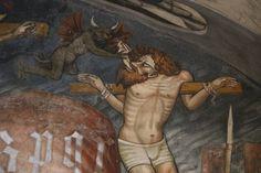 Maestro della Passione - l'anima del cattivo ladrone viene trasportata via dai demoni  - affreschi dell'abside della Chiesa di Santa Maria al castello - Castello della Manta by raffaele pagani