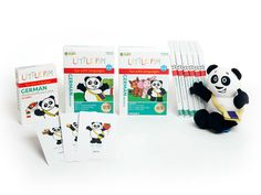 German Complete Set with all 6 of our language learning DVDs for children along with flaschards and a plush panda.
