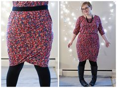Wiggle dress - with a twisted jersey skirt, basically a long tube, the width of the hips, folded up and given a 1/4 twist.