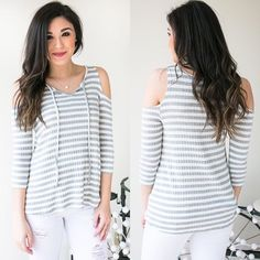 Hump Day calls for grey and white stripes Shop the look at the link in our bio! #lotusboutique