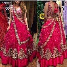 Cherry Pink Embroidery Net Party Wear Lehenga Choli With Dupatta