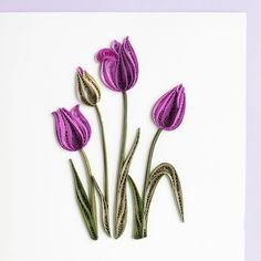 "Quilled ""any occasion"" greeting card with beautiful purple tulips on front"