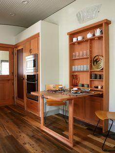 Mueble de madera con mesa #plegable #cocina