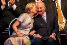 Queen Paola kiss King Albert II of Belgium 7/20/13