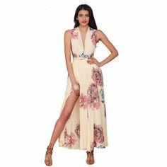 Stylish Cross Open Back Flower Print Women Maxi Dress