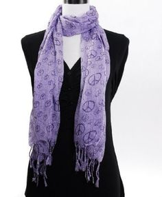 Private Island Party  - Lavender Peace Sign Scarf 2011, $6.99   Peace Sign Scarf in lavender. Stylish scarf that you should wear all year around! Made of very lightweight material.