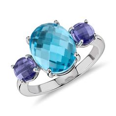 Blue Nile Blue Topaz and Iolite Faceted Cabochon Ring Blue Nile Jewelry, Gems Jewelry, Topaz Jewelry, Fashion Jewellery Online Shopping, Three Stone Rings, Pretty Rings, Blue Topaz Ring, White Gold Rings, Tanzanite Ring