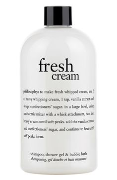 Free shipping and returns on philosophy 'fresh cream' shampoo, shower gel & bubble bath at Nordstrom.com. Indulge in the sweet scent of fresh cream shampoo, shower gel and bubble bath by philosophy. The moisturizing formula provides you with a rich, foaming lather that cleanses and conditions, leaving your skin and hair feeling soft and luxurious.<br><br>How to use: Apply to wet scalp or body. Lather, rinse, repeat. If using as a bubble bath, drizzle a generous amount under running water and...