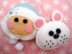 felt eskimo and polar bear ornaments Felt Ornaments Patterns, Felt Crafts Patterns, Felt Christmas Ornaments, Christmas Fun, Celebrating Christmas, Felt Pillow, Felt Toys, Handmade Felt, Holiday Crafts