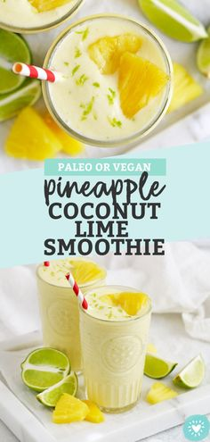 Pineapple Coconut Lime Smoothie - Creamy coconut meets tropical tang in this delicious pineapple lime smoothie recipe! (Paleo or Vegan) // Coconut Lime Smoothie // Pineapple Lime Smoothie // Pineapple Smoothie // Tropcial Smoothie // Paleo Smoothie Vegan Smoothies, Fruit Smoothies, Ham Recipes, Pork Chop Recipes, Vegan Recipes, Shrimp Recipes, Lasagna Recipes, Chickpea Recipes