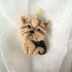 Купить Брошка Йоркширский терьер - бежевый, собака, собачка, Йоркширский терьер, йорк, брошь