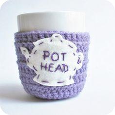 Tea Cup Cozy Mug Cozy Funny Pot Head purple lavender cozy handmade cozy cover on Etsy, $16.00
