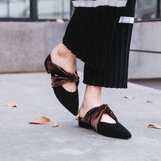 21ad12ed57d Chiko Chione Velvet Adorned Mules. Bow FlatsMaterialisticPretty ShoesWomens  FlatsFashion LookbookSummer ...