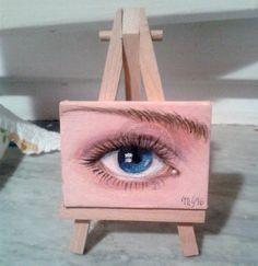 occhio n2 - Pittura,  7x5x1 cm ©2016 da marina gigante -                                                        Ritrattistica, Tela, Ritratti