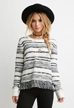 Fringed-Hem Stripe Sweater