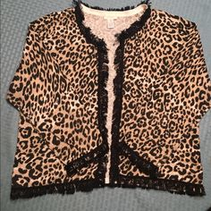 Animal print fringe open front cardigan Chico's size 2 cotton and rayon blend. Chico's Sweaters Cardigans