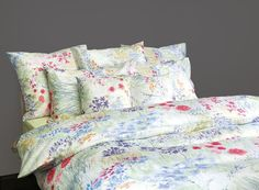 Bloom Floral Print Bedding by Schlossberg of Switzerland. Schlossberg's Bloom is floral print bedding in 300 thread count. Queen Comforter Sets, Duvet Sets, Queen Sheets, Bed Sheets, Swatch, Bedding And Curtain Sets, Where To Buy Bedding, Floral Bedding, Dorm Bedding