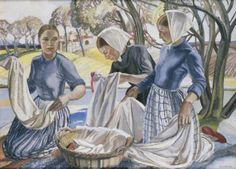Washerwomen by Averil Burleigh      Date painted: c.1930     Oil on canvas, 94.2 x 119.2 cm