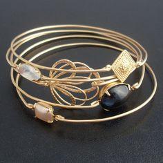Twilight 5-Bangle Bracelet Set - Gold, Gray, Cream, Pearl.  via Etsy.